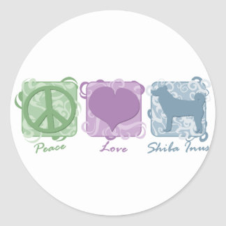Pastel Peace, Love, and Shiba Inus Round Stickers