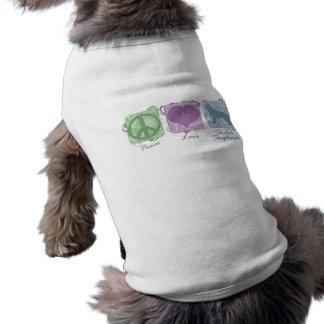Pastel Peace, Love, and Shiloh Shepherds Pet T-shirt