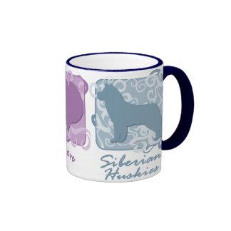 Pastel Peace, Love, and Siberian Huskies Ringer Mug