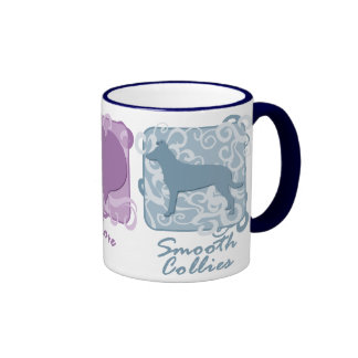 Pastel Peace, Love, and Smooth Collies Ringer Coffee Mug
