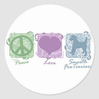 Pastel Peace, Love, and Smooth Fox Terriers Classic Round Sticker