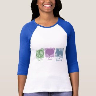 Pastel Peace, Love, and Tibetan Spaniels T-Shirt