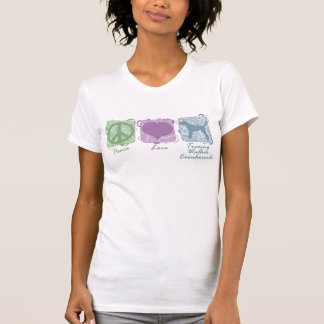 Pastel Peace, Love, and Treeing Walker Coonhounds T-Shirt