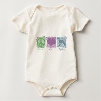 Pastel Peace, Love, and Vizslas Baby Bodysuit