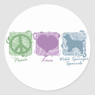Pastel Peace, Love, and Welsh Springer Spaniels Classic Round Sticker