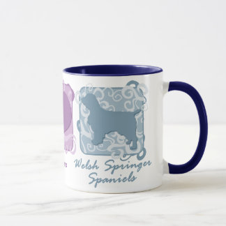 Pastel Peace, Love, and Welsh Springer Spaniels Mug