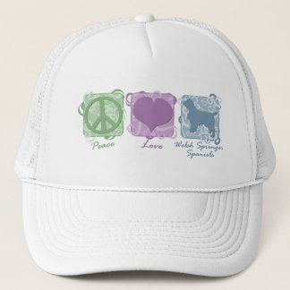 Pastel Peace, Love, and Welsh Springer Spaniels Trucker Hat