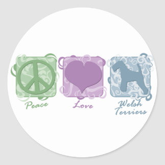 Pastel Peace, Love, and Welsh Terriers Classic Round Sticker