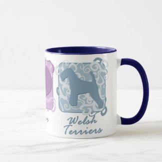 Pastel Peace, Love, and Welsh Terriers Mug