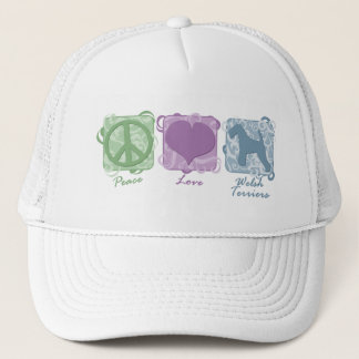 Pastel Peace, Love, and Welsh Terriers Trucker Hat