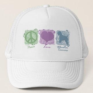 Pastel Peace, Love, and Wheaten Terriers Trucker Hat