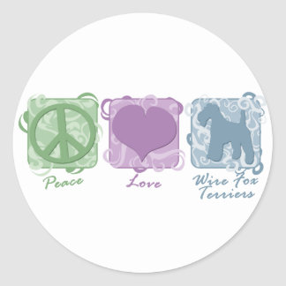 Pastel Peace Love and Wire Fox Terriers Round Stickers