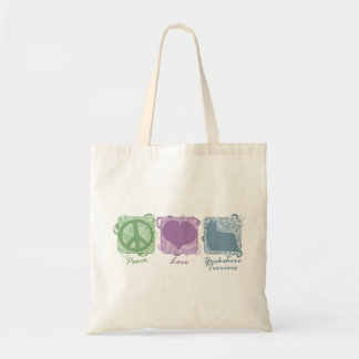 Pastel Peace, Love, and Yorkshire Terriers Tote Bag