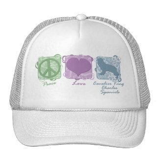 Pastel Peace, Love, Cavalier King Charles Spaniels Mesh Hat