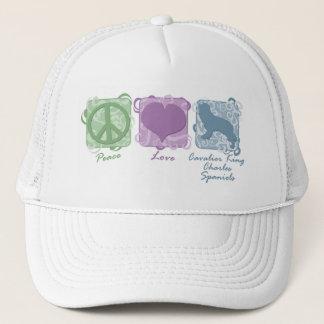 Pastel Peace, Love, Cavalier King Charles Spaniels Trucker Hat