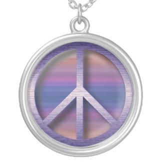 Pastel Peace Round Pendant Necklace