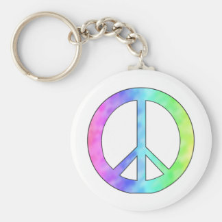 Pastel Peace Sign Basic Round Button Keychain