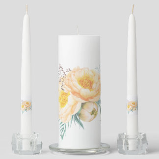 Pastel Peach English Roses Flowers Floral Unity Candle Set