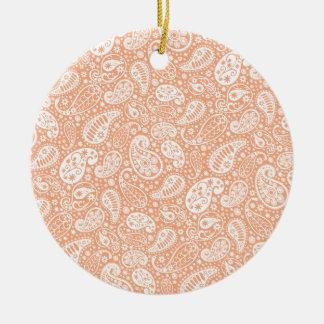 Pastel Peach Paisley Ceramic Ornament