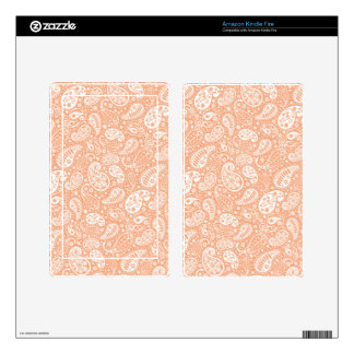 Pastel Peach Paisley Kindle Fire Decal