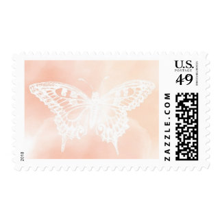 Pastel Peach & Pink Butterfly Stamp