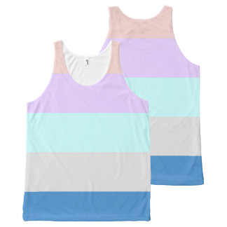 pastel peach purple mint grey blue color block All-Over-Print tank top