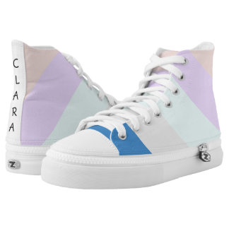 pastel peach purple mint grey blue color block High-Top sneakers