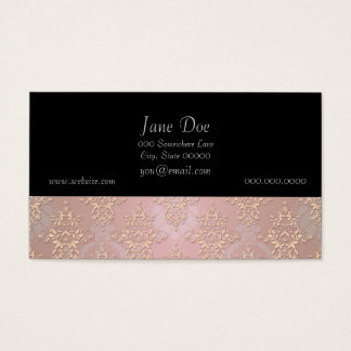 Pastel Peachy Damask Business Card