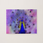 """Pastel Peacock Blue Bird Jigsaw Puzzle<br><div class=""""desc"""">The peacock is a possessor of some of the most admired human characteristics, and is a symbol of integrity and the beauty we can achieve when we endeavour to show our true colours. In history, myth, legend and lore, the Peacock symbolism carries portents of: Nobility, Holiness, Guidance, Protection and Watchfulness....</div>"""