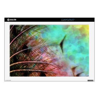 """Pastel Peacock Feathers 17"""" Laptop Decal"""