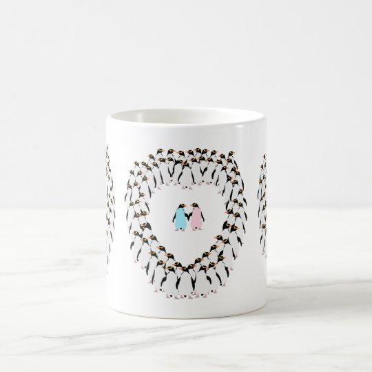 Pastel Penguins heart cup