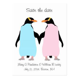 Pastel penguins holding hands save the date postcard