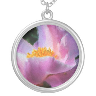Pastel Peony Circle Pendant Necklace