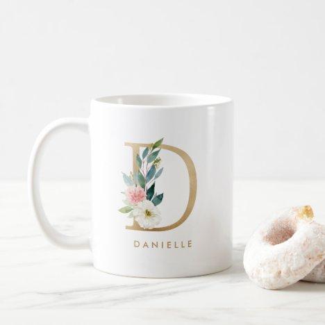 Pastel Peony Floral Letter D Gold Foil Monogram Coffee Mug