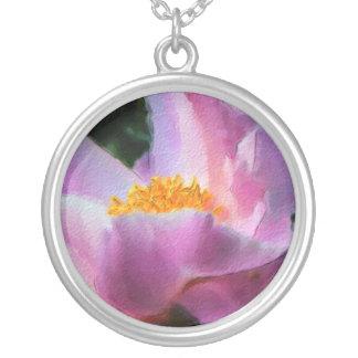 Pastel Peony Round Pendant Necklace