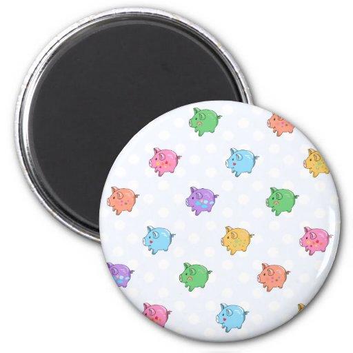 Pastel Pig Pattern 2 Inch Round Magnet