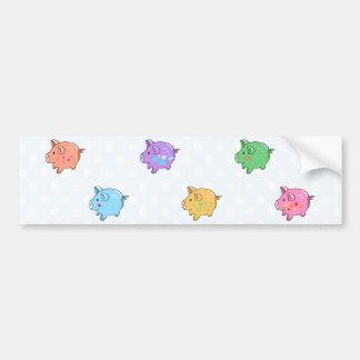 Pastel Pig Pattern Bumper Sticker
