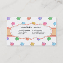 Pastel Pig Pattern Business Card