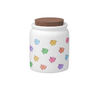 Pastel Pig Pattern Candy Jar