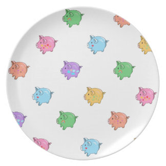 Pastel Pig Pattern Party Plates