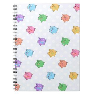 Pastel Pig Pattern Spiral Note Book
