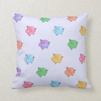 Pastel Pig Pattern Throw Pillow