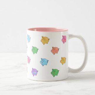 Pastel Pig Pattern Two-Tone Coffee Mug