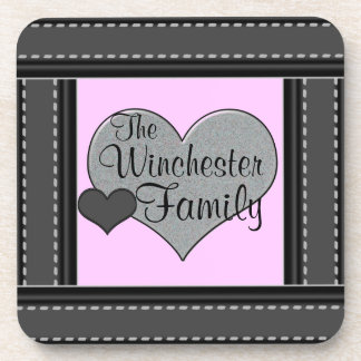 Pastel Pink Add Your Family Name Hearts Coasters