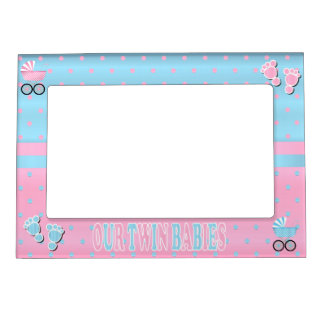 Pastel Pink and Baby Blue Polka Dots - Twins Magnetic Picture Frame
