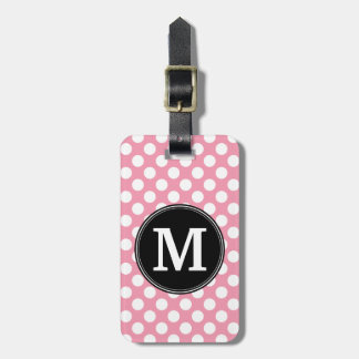 Pastel Pink and Black Polka Dots Custom Monogram Bag Tag