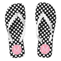 Pastel Pink and Black Polka Dots Custom Monogram Flip Flops