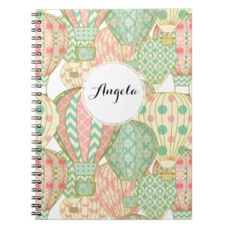 Pastel Pink and Blue Hot Air Balloons Notebook