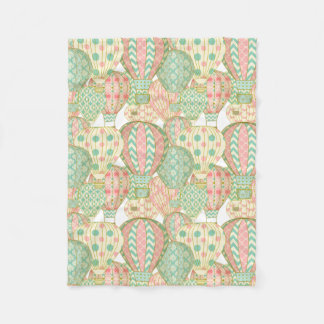 Pastel Pink and Blue Hot Air Balloons Pattern Fleece Blanket