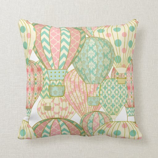 Pastel Pink and Blue Hot Air Balloons Throw Pillow Zazzle